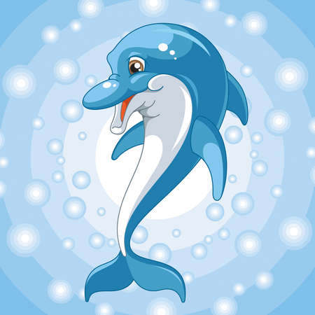 Dolphin on a blue background   Vector