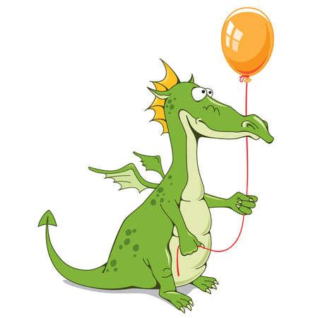 dragones: Drag�n divertido con un globo Vectores