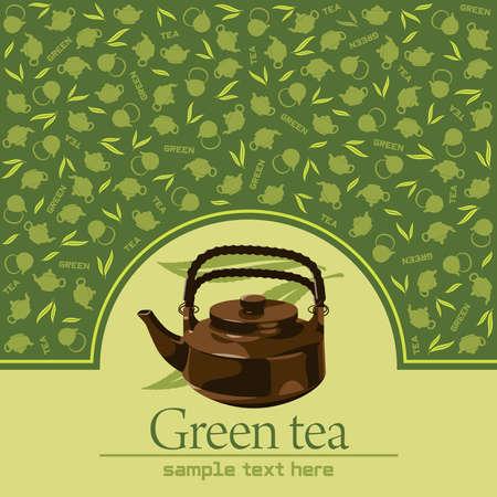 chinese teapot: Green tea   Illustration
