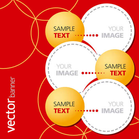 Yellow and white circles on a red background Illustration