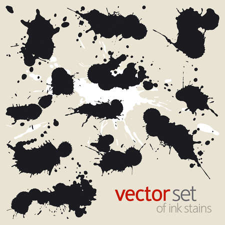 Big vector set of black ink stains