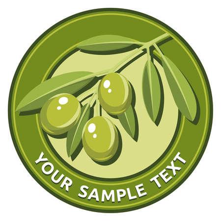 olijf: Label met een groene olijftak Stock Illustratie