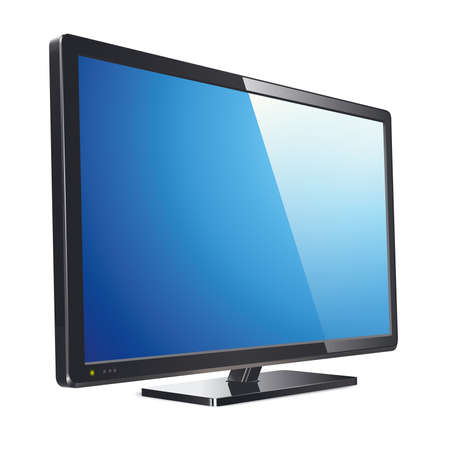 Monitor with flat lcd screen, realistic vector illustration