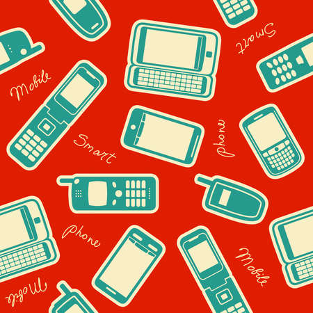 mobile sms: Seamless mobile devices background, vector illustration