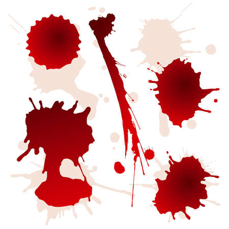 blood stain: Set of splattered blood stains, vector illustration