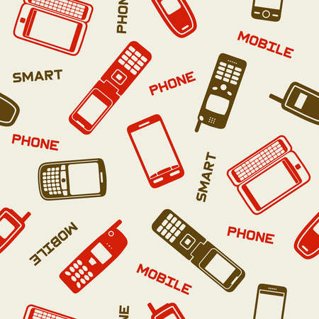 Seamless mobile devices background, vector illustration