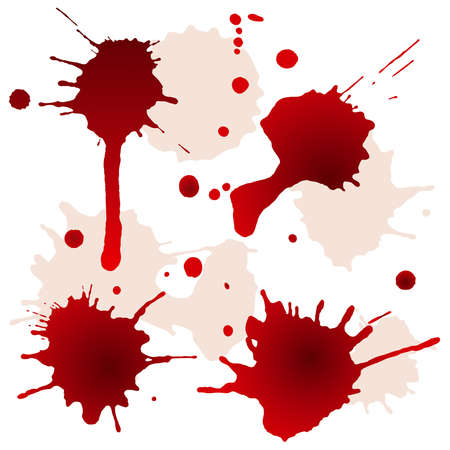 Splattered blood stains, vector illustration