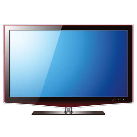 flat screen tv: TV with flat lcd screen, realistic vector illustration