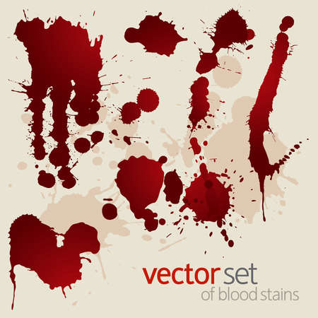 Splattered blood stains on a beige background, vector illustration Vector