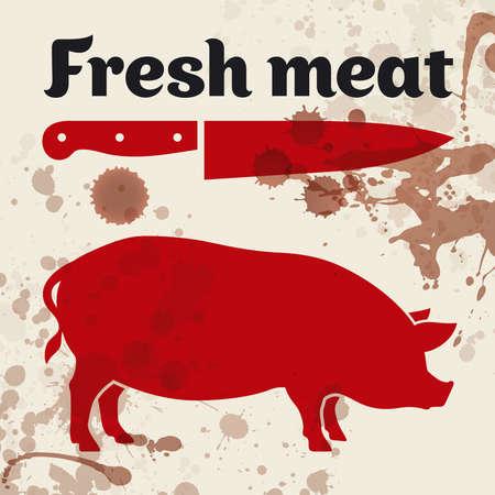 macellaio: Carni fresche, illustrazione Vettoriali