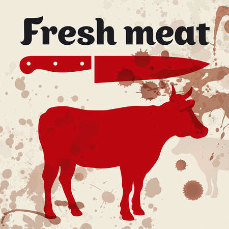 Fresh meat, beef,  illustration Illustration