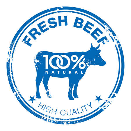 beef meat: Blue grunge rubber stamp with a cow silhouette