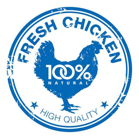 carne de pollo: Blue grunge sello de goma con la silueta gallina Vectores