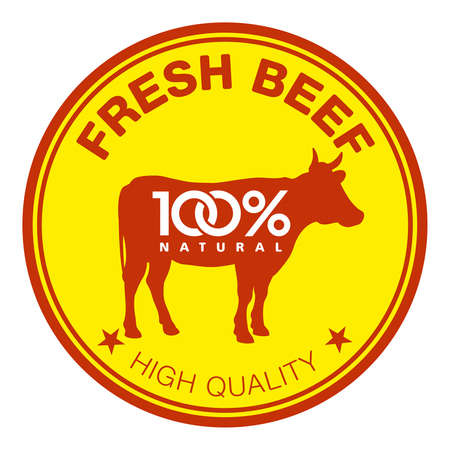 Label with a cow silhouette Vector