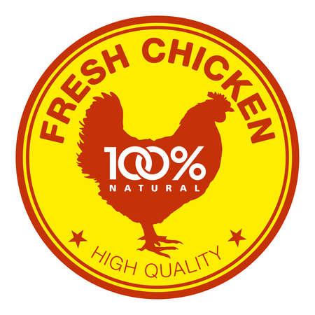 alitas de pollo: Etiqueta con una silueta gallina