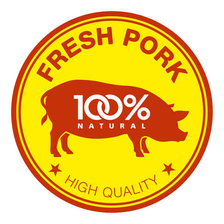 pig with wings: Label with a pig silhouette