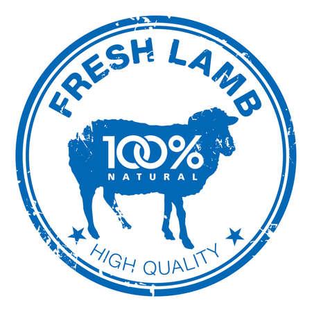 office products: Blue grunge sello de goma con la silueta de oveja