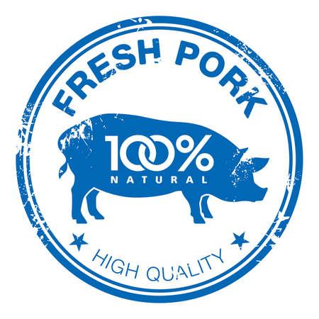 Timbre en caoutchouc bleu grunge avec une silhouette de porc