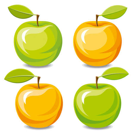 Set of vector apples