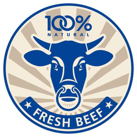 toros bravos: Etiqueta con la cabeza de un toro Vectores