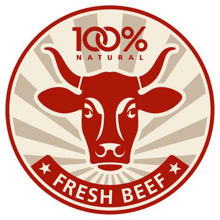toros: Etiqueta con la cabeza de una vaca Vectores
