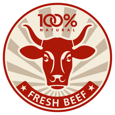 Label with the head of a cow Stock Vector - 15148024