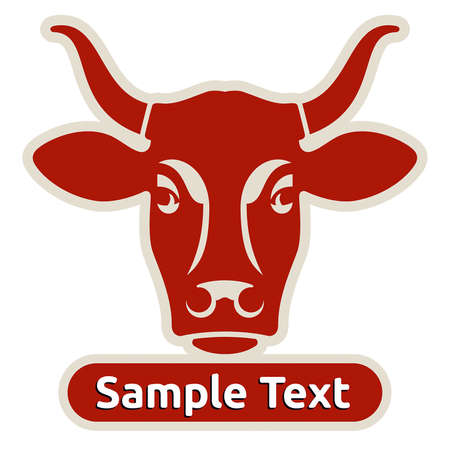 Logo with head of a cow  イラスト・ベクター素材