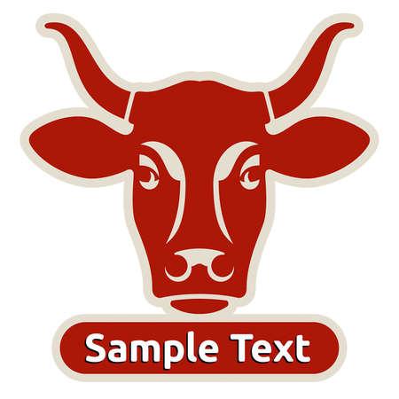 vacas lecheras: Logo con la cabeza de una vaca Vectores