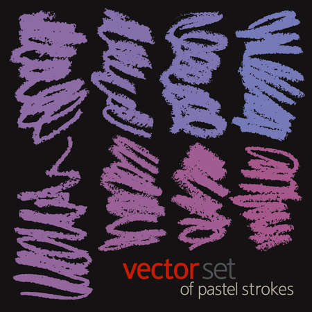 Oil pastel strokes, vector set 2 Vector