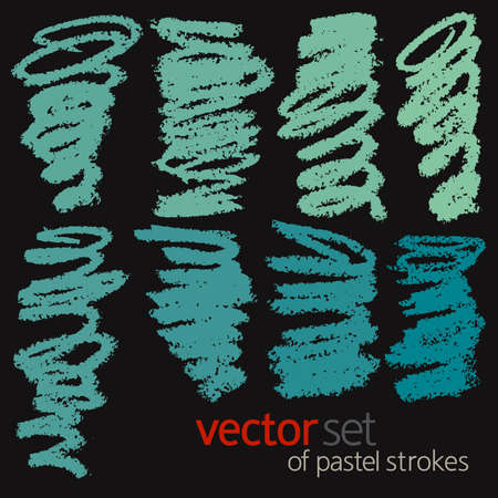 Oil pastel strokes, vector set 4 Illustration