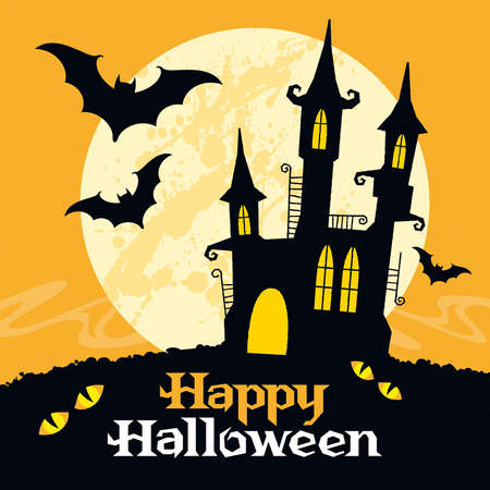 castle silhouette: Halloween vector card. Vector art