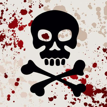 Skull with crossbones, vector illustration