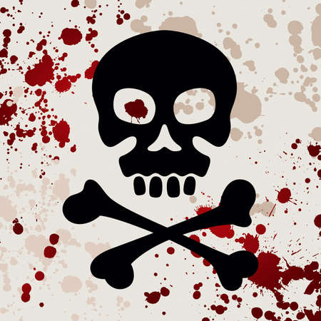 Skull with crossbones, vector illustration