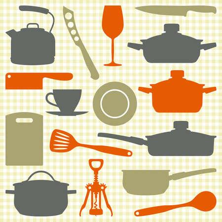 Kitchen utensils, kitchenware silhouettes
