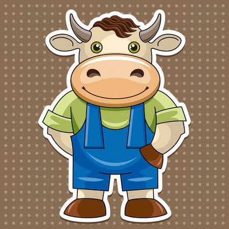 toros bravos: �, �, Artoon lindo toro Vectores