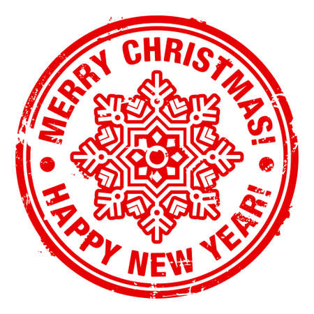 happy new year stamp: Grunge rubber Christmas stamp