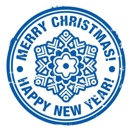 happy new year stamp: Grunge sello de goma Navidad Vectores