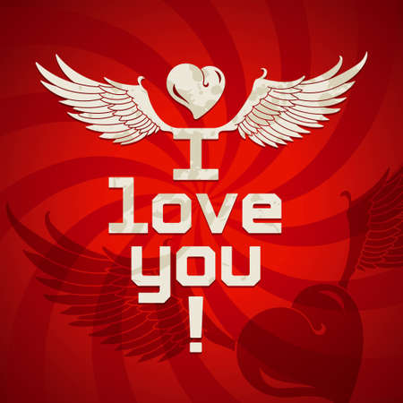 heart with wings: I love you, romantic card