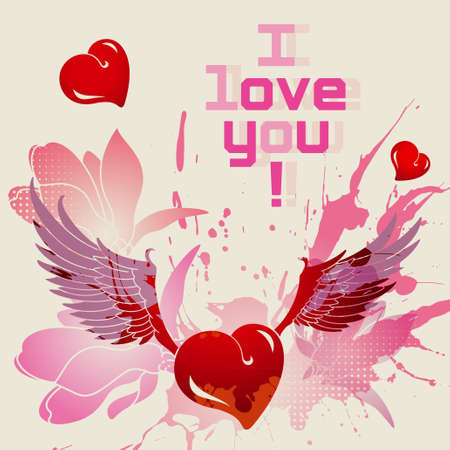 I love you, romantic card Vector
