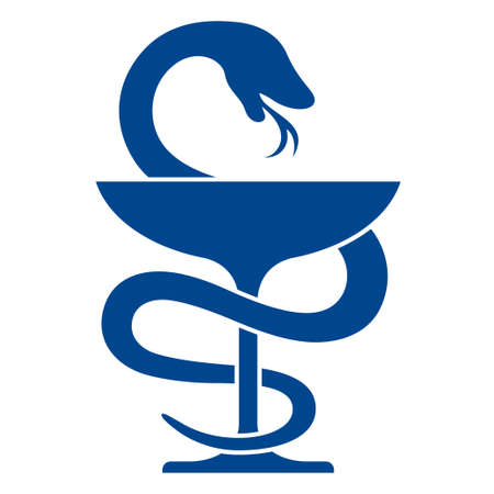 pharmacy icon: Pharmacy icon with caduceus symbol, bowl with a snake