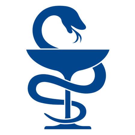 pharmacy icon: Pharmacy Symbol mit Caduceus Symbol, Schale mit einer Schlange Illustration