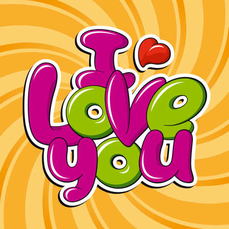love you: I Love You, vector inscription