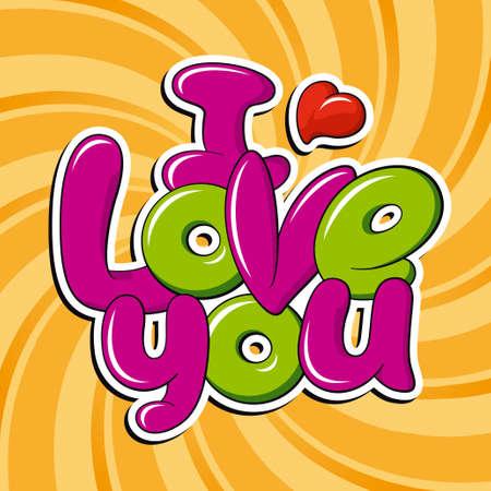 you: Je t'aime, vecteur inscription