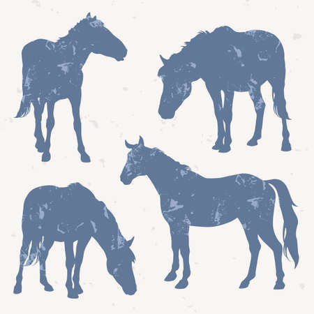 Horse silhouettes with grunge effect, illustration