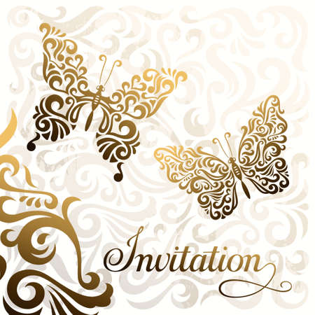Invitation, vector template with stylized butterflies Illustration