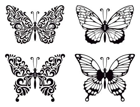 black butterfly: Vector set of butterflies, vector illustration