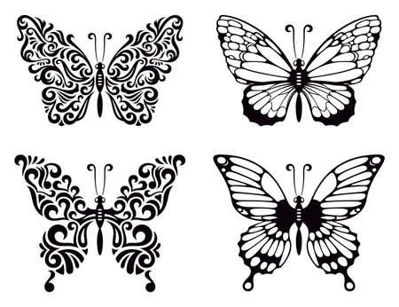 butterfly tattoo: Vector set of butterflies, vector illustration