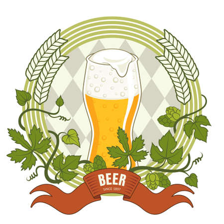 Beer label, vector illustration with glass of beer Vector