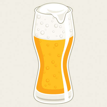 pint: Glass of beer, vector illustration