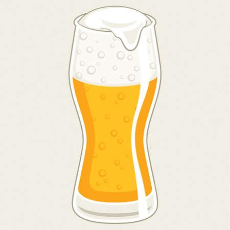 beer pint: Glass of beer, vector illustration